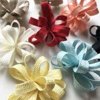 リネンフラワーリボン【糸を引っ張るだけで簡単に作れるお花モチーフです!】