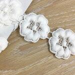 ケミカルレース約24〜25mm幅フラワー/お花モチーフコットン刺繍(No.8431-オフ白)