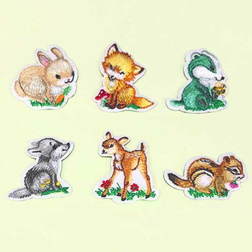 【ヨーロッパ製アップリケ】森の動物たち(ウサギ、キツネ、スカンク、オオカミ、バンビ、リス)アップリケ/ワッペン1個単位での販売です。