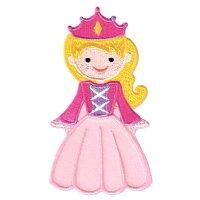 【大きめワッペン】プリンセスお姫様(ピンク)約9cm×5cmアイロン接着OK