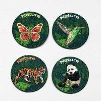 【ヨーロッパ製アップリケ】NATUREGREENBACKGROUD(蝶、ハチドリ、トラ、パンダ)アップリケ/ワッペン1個単位での販売です。