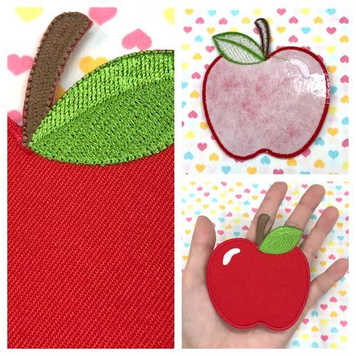 【大きめワッペン】リンゴアップル約9cm×7.9cmアイロン接着OK