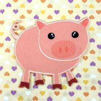 【大きめワッペン】ブタぶた約8cm×9cm(Pig)/アイロン接着OK