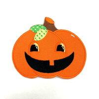 【大きめワッペン】カボチャ約8.2cm×10cm【アイロン接着OK】(PM-Pumpkin)