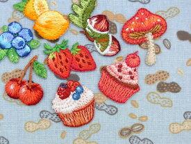 フルーツ&スイーツ[イチゴ、チェリー、レモン、ブルーベリー、カップケーキ(ベリー)、カップケーキ(チェリー)、ドングリ、キノコ] 【ヨーロッパ製アップリケ/ワッペン】SM-15838-Fruits&Sweets