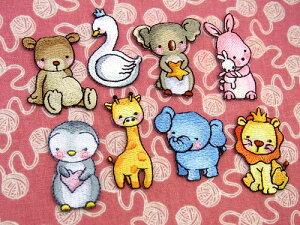 【ヨーロッパ製アップリケ※】 動物の赤ちゃん 8種(クマ、ハクチョウ、コアラ、ウサギ、ペンギン、キリン、ゾウ、ライオン) アップリケ/ワッペン (SM-15845)