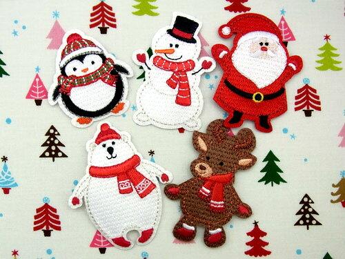 【ヨーロッパ製アップリケ】 クリスマス (ペンギン、スノーマン、サンタクロース、シロクマ、トナカイ) アップリケ/ワッペン 1個単位での販売です。