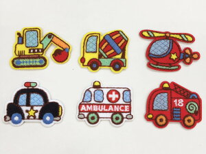 パトカー/消防車/ショベルカー/ヘリコプター/ミキサー車/救急車(働く車・乗り物)【ヨーロッパ製アップリケ/ワッペン】SM-16030