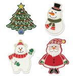 クリスマス(サンタクロース、ツリー、スノーマン、シロクマ)【ヨーロッパ製アップリケ/ワッペン】1個単位での販売です。SM-16249U-Christmas2019