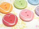 【ヨーロッパ製ボタン】ハートライン 丸ボタン 15mm 1個単位での販売です。