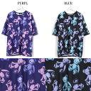 スケルトンテディ†総柄半袖Tシャツ†黒青&紫ピンク†Drug Honey†大きいサイズ ゆるダボ 男女兼用
