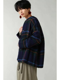 [Rakuten Fashion]チェックプリントジャケット ROSE BUD ローズバッド ニット カーディガン ネイビー レッド【送料無料】