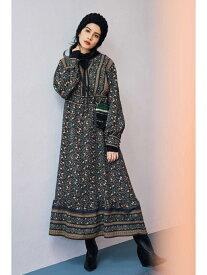 [Rakuten Fashion]フォークロアプリントワンピース ROSE BUD ローズバッド ワンピース ワンピースその他 ブラック ベージュ【送料無料】