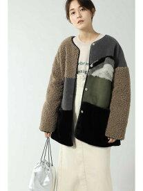 [Rakuten Fashion]パッチワーク風ボアジャケット ROSE BUD ローズバッド コート/ジャケット コート/ジャケットその他 ブラック ベージュ【送料無料】