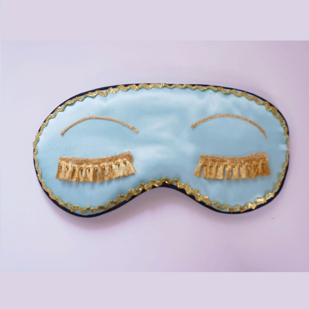 ライトブルー アイマスク シルク スリープアイ ゴールド おしゃれアイマスク