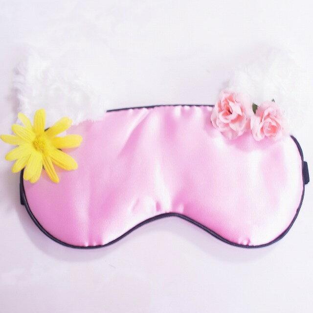 猫耳 フラワー 花 アイマスク ピンク シルク おしゃれアイマスク ルームウェア