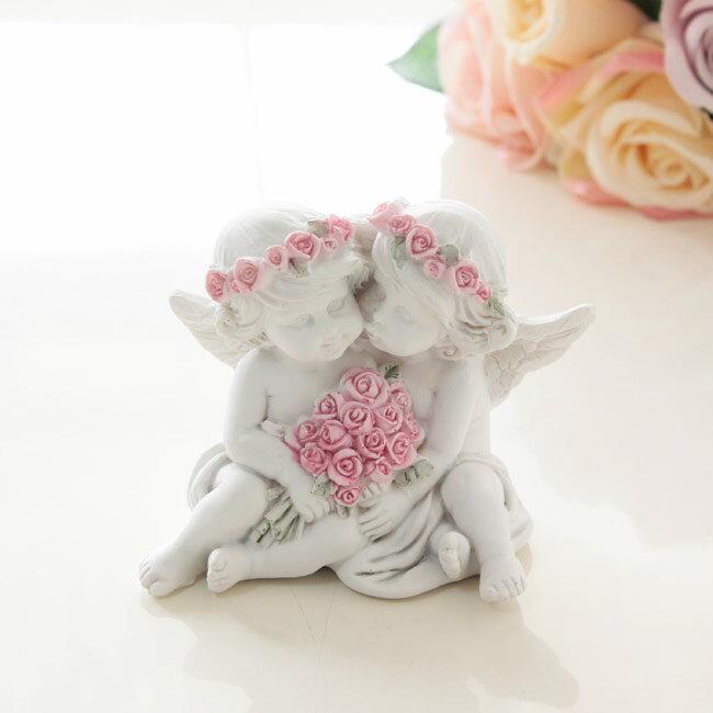 置物 天使 ペアエンゼルオブジェ(エンジェル)薔薇雑貨姫系雑貨 インテリア