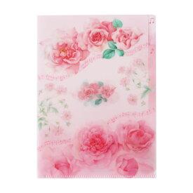 クリアファイル A5クリアフォルダー ピンクローズ メール便可 日本製 文具 薔薇柄 花柄