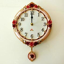 振子時計 壁掛け アンティークローズ 薔薇 インテリア 雑貨 姫系 カワイイ かわいい 花柄 ピンク おしゃれ 子供部屋 キッズ ギフト