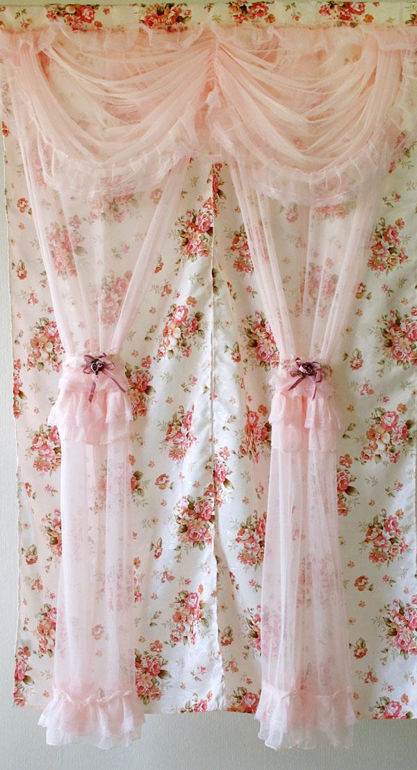 暖簾 チュールレース姫系2重のれん150cm 薔薇雑貨 姫系雑貨 花柄 インテリア ピンク