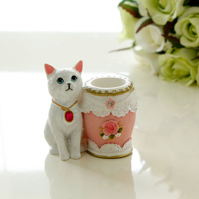 猫楊枝入れ ピックスタンド 印鑑スタンド ホワイト キャット ネコ 楊枝立て 爪楊枝 薔薇雑貨 かわいい おしゃれ