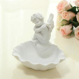 トレー エンゼル 小物入れ トレイ 天使 エンジェル ホワイト インテリア ギフト 薔薇雑貨 かわいい 収納 おしゃれ ホワイト