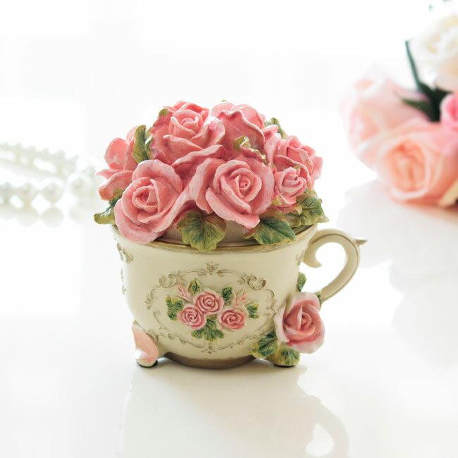 薔薇雑貨 小物入れ ローズカップ型 クリスマス かわいい ギフト 母の日 姫系雑貨 ジュエリーボックス