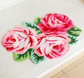 玄関マット 室内 薔薇雑貨 ローズマット 3輪 インテリアマット フロアー 華やか かわいい 花柄 バラ おしゃれ