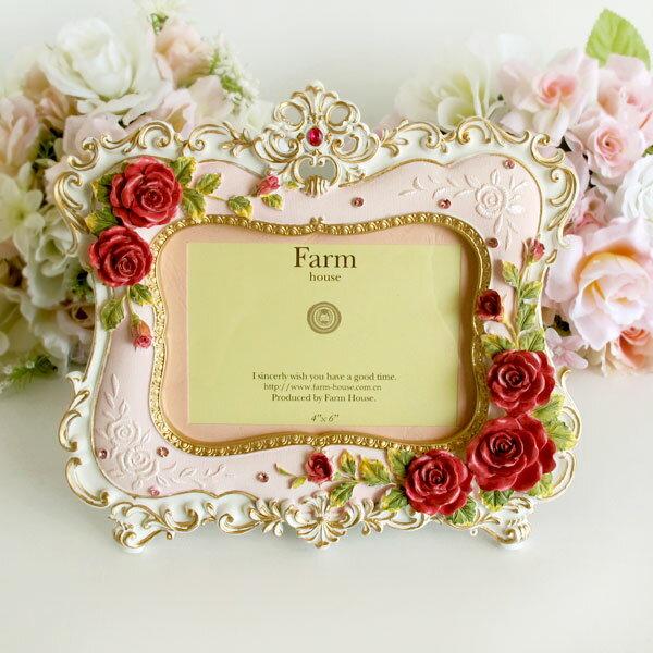写真立て フォトフレーム ロココローズ 薔薇 雑貨 姫系インテリア 結婚祝い 贈り物 おしゃれ ピンク かわいい バラ雑貨 ばら雑貨 姫系