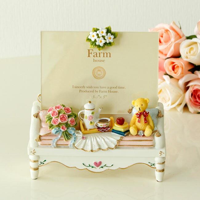 写真立て ベアーソファアクリル フォトフレーム 結婚祝い 薔薇雑貨 贈り物 ギフト かわいい おしゃれ