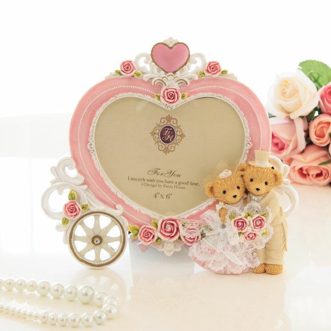 写真立て 結婚祝い ウエディングベアー馬車型ハートフォトフレーム 薔薇雑貨 ピンク かわいい おしゃれ