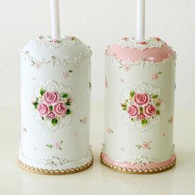 トイレブラシホルダー パウダーローズ 薔薇 雑貨 姫系 おしゃれ かわいい ピンク ホワイト