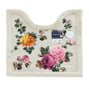 トイレマット リベルタ ベージュ 約58×60Vcm 薔薇 雑貨 日本製 ローズ かわいい おしゃれ
