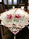 薔薇の花 カットワーク刺繍 テーブルランナー35X180cm 新入荷