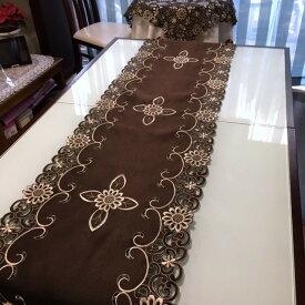 ブラウン≫カットワーク刺繍/テーブルランナー40X180cm   brown 新入荷 #030