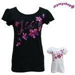 ロゴフラワーTシャツフラダンス/ハワイアンtシャツ/レッスン着/フラTシャツ