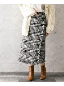 [Rakuten Fashion]ランダム千鳥チェックフリンジスカート ROSSO アーバンリサーチロッソ スカート スカートその他 ブラック グレー【送料無料】