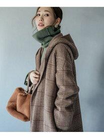 [Rakuten Fashion]ガウンフードチェックコート ROSSO アーバンリサーチロッソ コート/ジャケット コート/ジャケットその他 ブラウン ブラック【送料無料】