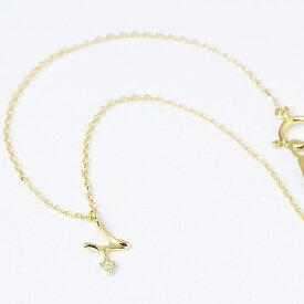 ブレスレット ブレス レディース イニシャル 18金 18k K18 イエローゴールド 誕生石 ダイヤ ダイヤモンド イニシャルネックレス チェーン 華奢 アクセサリー アルファベット プレゼント ネックレス 日本製 女性 プレゼント 彼女 母の日