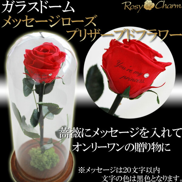 ガラスドーム バラ1本 メッセージローズ プリザーブドフラワー 誕生日プレゼント・記念日・プロポーズの贈り物