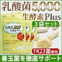 【3個セット】おなかをキレイにお掃除!【乳酸菌5,000 生酵素plus(30カプセル入)】特許取得の乳酸菌「FK23菌」を1カ…
