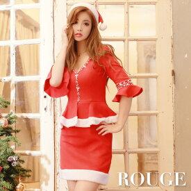 d262ad9102aa4  あす楽 クリスマス レッド サンタ コスチューム サンタコス コスプレ X mas サンタクロース レディース ドレス キャバドレス ROUGE