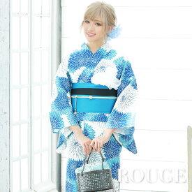 【あす楽】浴衣 3点セット 白地x青菊模様浴衣セット 花柄 セクシー レディース【ROUGE | ルージュ】Y203