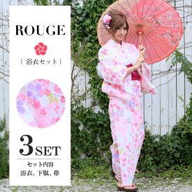 【あす楽】【浴衣3点セット】白地に洗練された鮮やかな桜柄浴衣セット レディース【ROUGE | ルージュ】Y051-yk-3[HC02]
