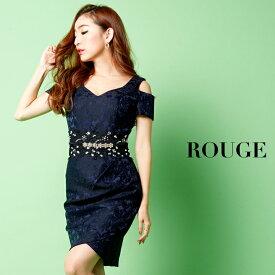 fd7a80a213e26  あす楽  キャバドレス ドレス ミニ 大きいサイズ  S-XLサイズ 2カラー ショルダーアウトカットチューリップカットキャバドレス  ROUGE