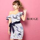 キャバドレス 大きいサイズ ドレス ミニ s m l xl サイズ オフショルダー フリル 花柄 フラワー ベルト リボン リボン…