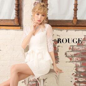 322f01b112fd7  あす楽 キャバドレス ミニ ドレス ホワイト 白 レース 袖 ペプラム ワンピース ROUGE