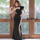キャバドレス ロングドレス 大きいサイズ ドレス ミニ s m l サイズ スリット ワンショルダー フリル 刺繍 フラワー …