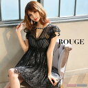 キャバドレス 大きいサイズ ドレス ミニ s m l サイズ ワンピース フレア Aライン ノースリーブ フリル レース レース…
