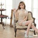 キャバドレス 大きいサイズ ドレス ミニ s m l xl サイズ ワンピース ノースリーブ 刺繍 花 フラワー レース ハイネッ…